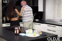 Breakfast sex old young teen handjob w