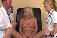 Blonde slut rides a fat dong