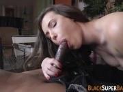 Slut gobbles ebony cock