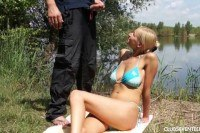 Teen babe gets pounded outdoors