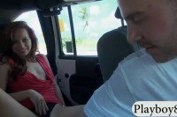 Woman flashes tits and drilled in the van