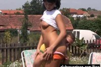 Cutie gets arse fucked outdoors