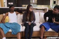 Booty brunette mia khalifa and two big
