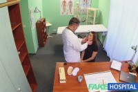 Brunettes wet pussy gets doctors cock on