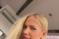 Gorgeous blonde uses pearls