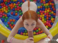Redhead dolly little has her dripping wet