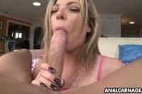 Blonde sucks dick in pov