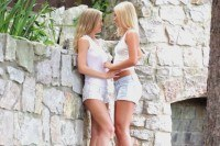 Blonde lesbians scissoring