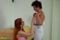 Busty bbw lady and lesbian redhead teen