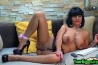 Ebony babe teases pussy on webcam