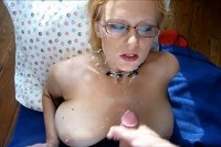 Mama with glasses takes his cum