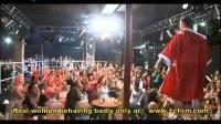Rude women suck cock at male strip show