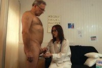 Doctor babe sucks old man cock fucks and