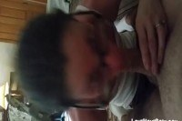 With glasses gives awesome blowjob pov