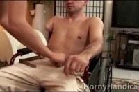 Yo caregiver blows horny cripple in wheelch