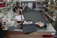 Latina stewardess selling a luggage full of