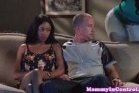 Ebony stepmom cockriding in trio