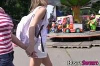 Busty lesbian gets oral