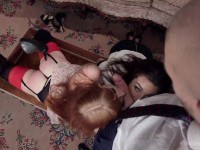 Bdsm couple catch an anal lesbian