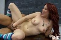 Posh schoolgirl gets cock