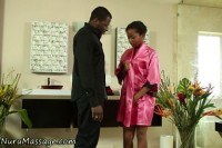 Ebony masseuse cum soaked
