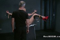 Blonde sub strapped in gyno chair squirting