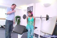 Titted eurobabe fucked by old dude in gym