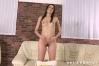 Teeny pleasing her sweet pussy hole
