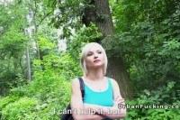 Euro blonde fucks stranger in forest