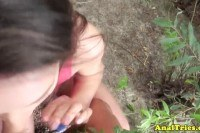 Amateur anal action outdoors