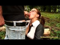 Schoolgirl is screwed in the woods