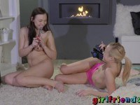 Hot babes playing with toys
