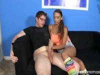Teen gets splattered with cum