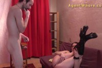 Cougar does erotic show for shy stranger
