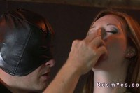 Busty redhead pussy fingered in bdsm