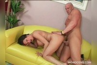 Brunette milf gets pounded on the couch