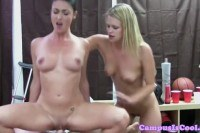College babes doggystyled in threeway