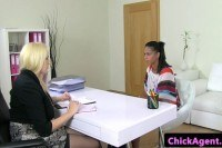 Ebony pussylicked during interview