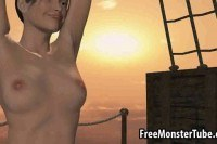 Babe sucks and fucks on board a pirate ship