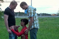 Teen girl public gang orgy by a highway