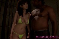 Asian milf dominated by three black dudes