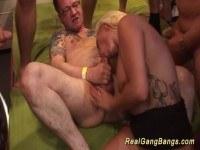 Tattooed milfs first gang orgy