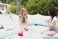 Teens outdoor scissoring