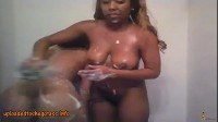 Ebony lesbians getting freaky in the shower