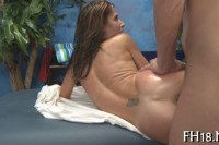 Babe riding the dick on the massage table
