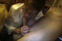 Babe with glasses blowjob