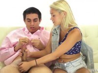 Teen handjob on the couch