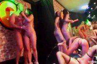 Chicks partying naked in the club
