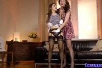 British pussylicking lesbian in lingerie