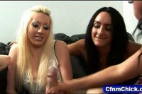 Teens give four way handjob
